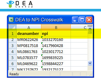 DEA to NPI Crosswalk